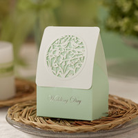 small gift boxes - Wishmade Fresh Light Green Laser Cut Wedding Candy Box Elegant Floral Wed Favor Box Small Gift Box