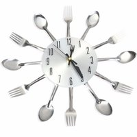 acoustic alarm clock - Knife Fork Spoon Originality Clock Kitchen Restaurant Wall Decoration Modern Design Large D Wall Clock Watches Home Office Decor