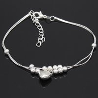 Wholesale 2016 love silver foot ornaments Heart beads double beach anklets female sterling silver Europe and the United States foreign trade jewel