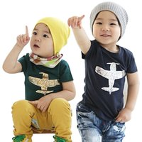 airplane clothing - Prettybaby kids boys airplane aircraft printing t shirts colors baby boy short sleeve cotton shirt children clothes Pt0369 la