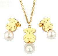 Wholesale Retro Imitation diamond Titanium steel Jewelry suit little bear Stud earrings bear necklace women collar pendientes del oso