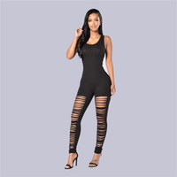 Wholesale 2016 Bodysuit Jumpsuits For Women Sexy Scoop Sleeveless Backless Hole Hollow Out Club Jumpsuits