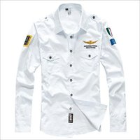 Wholesale Brand men s clothing casual shirts High quality Embroidery air force one long sleeve men shirt formal male shirt clothes