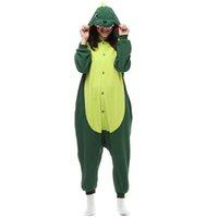 Wholesale In Stock AC039 Green Dinosaur Cartoon Cosplay Party Costumes Comfy Leisure Animal Onesies Pajamas Jumpsuit Teens Adults Homewear Cheap Sale