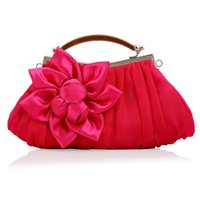 acrylic purse handles - Baguette Pleated Satin Handbag Rose Flower Decorated Soft Party Bag Ladies Wedding Party Clutch Bag Prom Purse and Handbag with Handle