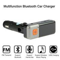 Wholesale Dual USB Car Bluetooth handfree Car Kit MP3 wireless FM Transmitter Cigarette lighter Charger For iPhone Samsung HTC Android