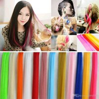 Wholesale 23 quot Cool Colorful Party Colored Highlight Punk Rock Women Long Straight Synthetic Clip In Hair Piece Extensions Piece L04082