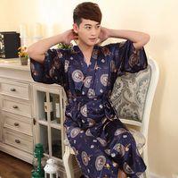 Wholesale 2016 Summer Hot Plus size Man Man Robe With Short Sleeves Emulation Silk LTD Bathrobe Lace up Leisurewear Robe