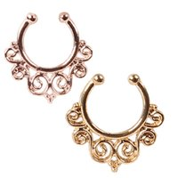 Wholesale 1 mm Fake Nose Ring Clip on Boby Nose Fake Piercing Rings Stud Punk Goth False Hoop Earrings Septum Limited Edition Nose