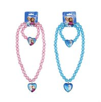 Wholesale Frozen Necklace Baby Girls jewelry necklace Elsa anna hello kitty Children beads accessories princess new style Elsa pendant necklace