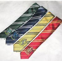 Wholesale Harry Potter Necktie School Tie stripe ties Hogwarts Neckties lytherin Hufflepuff tie Gryffindor Ravenclaw with badge KKA513