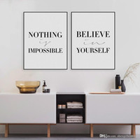 believe painting - Minimalist Black White Motivational Typography Believe Quotes Art Print Poster Wall Picture Canvas Painting No Frame Home Decor