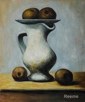 apple still life - art Oil paintings Still Life with Pitcher and Apples Pablo Picasso reproduction Handmade High quality