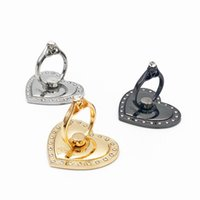 Wholesale Diamond Love Heart Ring Finger Metal Stand Holder Luxury Rhinestone Bracket Degree rotating for iphone s for Samsung S7 HTC cell phone