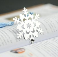 Wholesale Cute Metal Bookmark Book Markers Snowflake Bookmarks Wedding Supplies Pendant Gifts Tassel Favors student s favor