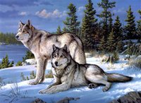 Wholesale DIY Diamond Paintings Cross Stitch Embroidery Full Diamond Snow Wolf Unfinished Diamond Mosaic Home Decor