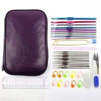 Wholesale 1Packet Aluminum Crochet Hooks Knitting Kit Needlework Random Color Silver Tone Sewing Needles With Ruler Scissors Tools