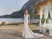 bali wedding - Sexy Wedding Dresses Eddy K Bali Mermaid Lace Sheer Round Neck Long Sleeve Vintage Lace Wedding Gowns Custom Made