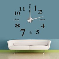 antique metal wall mirror - 2015 new arrival Large DIY home decor quartz circular wall clock living room needle metal modern fashion Mirror Surface Sticker