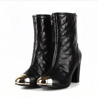 arrival diamond shape - 2016 Winter new arrival luxury handsome luxury classic retro brand diamond shape metal head rough with sheepskin high sexy women boots