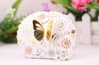 Wholesale Hollow out candy box butterfly sweet carton box Laser carving Creative wedding joyful box free shiipping CD003