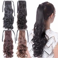 Wholesale quot Tail Ponytail Hairpiece Synthetic Hair Apply Tress False Hair Clip in Hairpiece Long Wavy Curly Ponytail