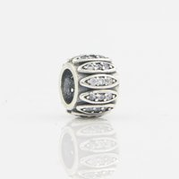 authentic antique jewelry - European Antique Bead Sterling Silver Sparkling CZ Round Charms Fit Original Pandora Bracelet Pendant DIY Authentic Women Silver Jewelry