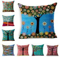 Wholesale Printing Pillow Cover w Floral tree bird x17 inch Cotton Linen Throw Pillow Cushion Case Home Decorative Pillowcase