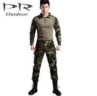 Cheap Wholesale-Military clothing combat shirt uniform woodland outdoor hunting movement clothing camouflage military equipment