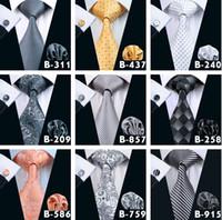 Wholesale Top Styles Men Ties Business Suit Necktie Neck Tie Set Silk Paisley Solid Stripes Yam Dyed Golden Classic Flower Ties