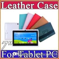 Wholesale colorful quot flip leather case for Q88 Allwinner A13 Q88 A23 A33 tablet pc protect skin F PT