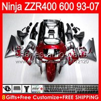 Comression Mold For Kawasaki ZZR600 Red flames 8gifts For KAWASAKI NINJA ZZR400 93 94 95 96 97 98 99 00 52HM1 ZZR600 93-07 ZZR-400 ZZR 400 01 02 03 04 05 06 07 Fairing Silver