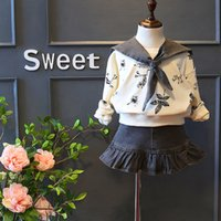 apricot season - Eleenbaby retail autumn new Korean suit girls school season hand printed apricot long sleeve hoodie and grey denim short skirt set