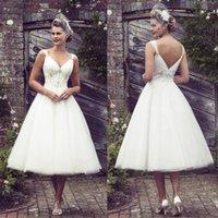 Wholesale 2016 Tea Length Wedding Dresses Appliqued Crystal V Neck Sleeveless Backless Beach Wedding Dress White Soft Tulle A Line Bridal Gowns