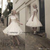 Wholesale Newest Design Short A Line Tea Length Lace Wedding Dresses With Cap Sleeve Detachable Sash s Vintage Bridal Gowns Sheer Top