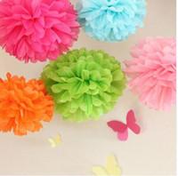 paper pom poms - 1pcs inch Artificial Flower Balls Paper Flower Balls Tissue Paper Pom Poms Wedding Decoration Paper Balls Party Decor pompom