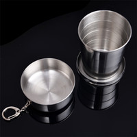 Wholesale New All stainless steel telescopic cup whole stainless steel folding cup drinking cup wine cup Hip Flasks ML