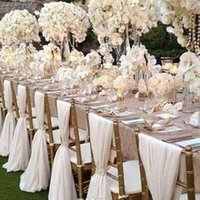 Wholesale 2016 Elegant White Chiffon Wedding Chair Cover And Sashes Romantic Bridal Party Banquet Chair Back Wedding Favors