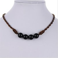 Wholesale New Hand woven four beads pendant Fashion rope chain necklace For women men Diy jewelry Length can be customized