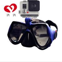 lunettes de plongée équipement de natation lunettes miroir de plongée en apnée de costume sec tube respiratoire GoPro masque complet