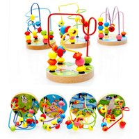 Wholesale Mini Around Beads Wire Maze Montessori Educational Game Beech Wooden Toy for Baby Kids Children