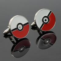 Wholesale New Poke Halder Cuff Links Pocket Monster Poke Ball Cuff Links Alloy Jewelry XMAS Gifts