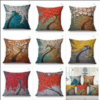 Wholesale Hottest Sales D Stereo Oil Painting Tree Pillow Cover cm cm Cotton Linen Pillow Cases Support Drop Shipping Customize Service