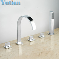 Wholesale Mixer for bath square shower hotel brass bath tub faucet with hand shower YT