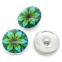 Wholesale 2014 NEW snap Buttons Fit DIY Bracelets Leaves Round Multicolor mm Dia HOT sale New Arrival M67860