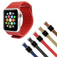 Wholesale 100 Genuine Leather loop band Magneic Buckle Loop band strap for apple watch Watch mm mm