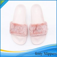 Wholesale Fenty Leadcat Rihanna Shoes Women Slippers Indoor Sandals Girls Fashion Scuffs Pink Black White Size US
