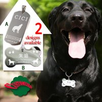 Wholesale customized Solid Stainless Steel DOG ID TAG double sides laser engraved w hang ring mirror faced bone retangle shape L packed in gift box