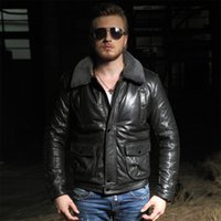aviation clothing - Fall Winter warm classic a2 aviation sheep leather jacket sheepskin genuine leather male suede clothing outerwear