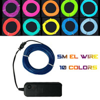 Wholesale 5M Flexible EL Wire Rope Tube Flexible Neon Light Colors Car Dance Party Costume Controller Christmas Holiday Decor Light